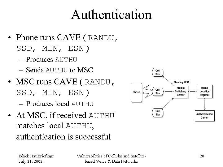 Authentication • Phone runs CAVE ( RANDU, SSD, MIN, ESN ) – Produces AUTHU