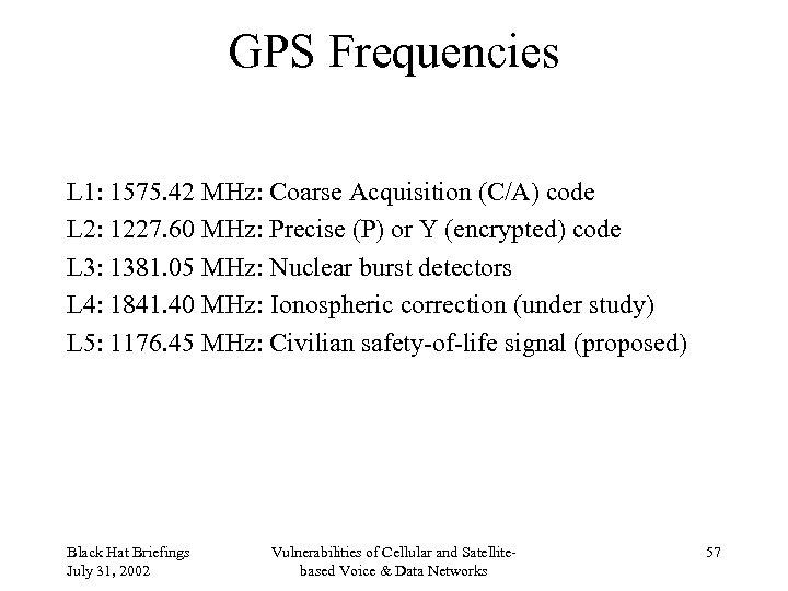GPS Frequencies L 1: 1575. 42 MHz: Coarse Acquisition (C/A) code L 2: 1227.