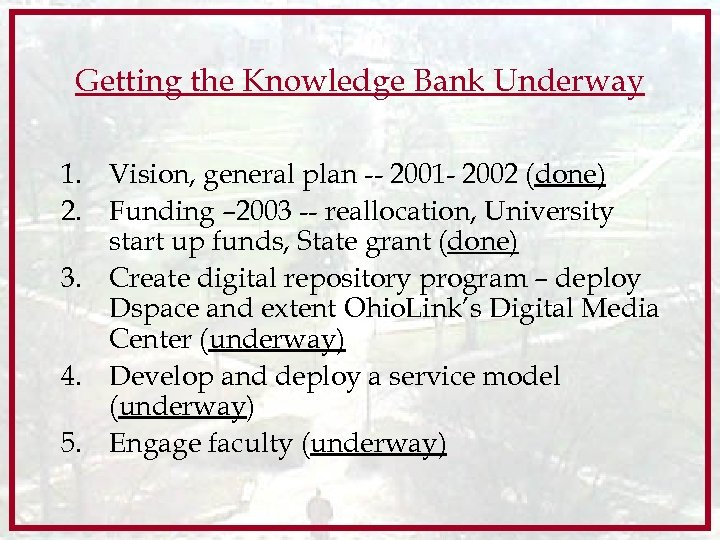 Getting the Knowledge Bank Underway 1. Vision, general plan -- 2001 - 2002 (done)