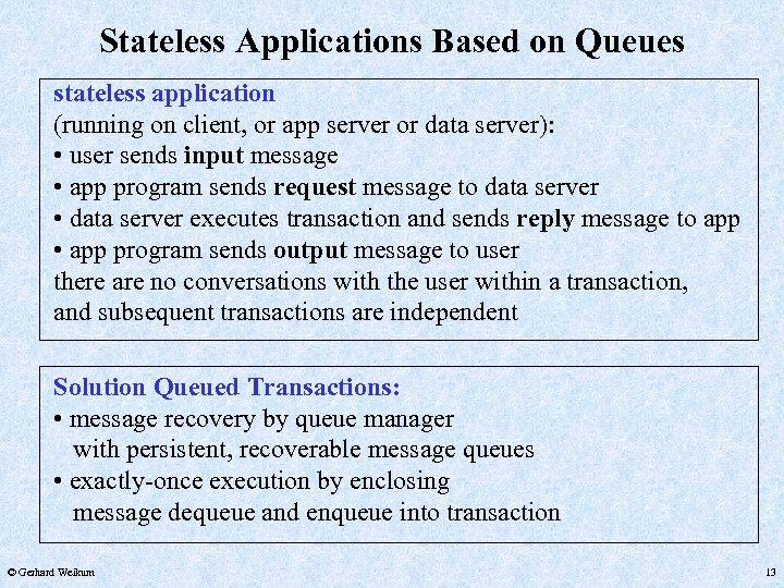 Stateless Applications Based on Queues stateless application (running on client, or app server or
