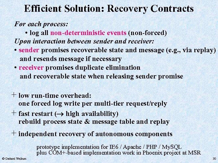 Efficient Solution: Recovery Contracts For each process: • log all non-deterministic events (non-forced) Upon