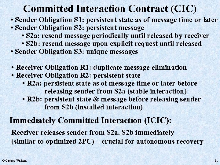 Committed Interaction Contract (CIC) • Sender Obligation S 1: persistent state as of message