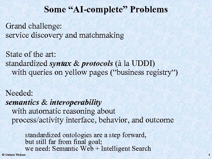 """Some """"AI-complete"""" Problems Grand challenge: service discovery and matchmaking State of the art: standardized"""