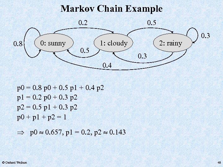 Markov Chain Example 0. 2 0. 8 0: sunny 0. 5 1: cloudy 2: