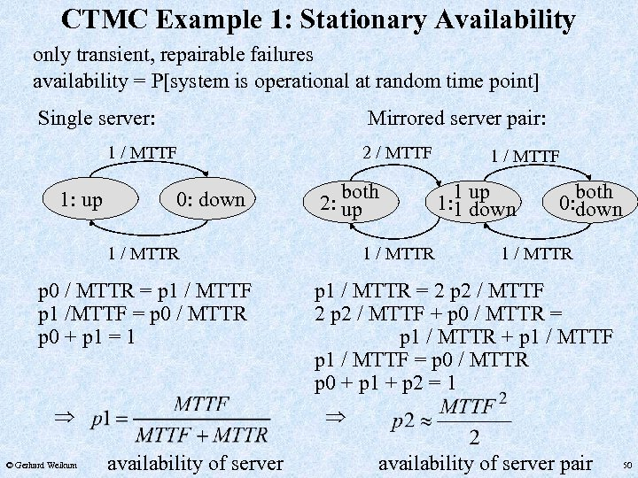 CTMC Example 1: Stationary Availability only transient, repairable failures availability = P[system is operational