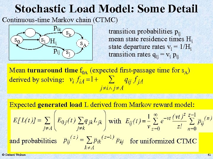 Stochastic Load Model: Some Detail Continuous-time Markov chain (CTMC) pik transition probabilities pij sk