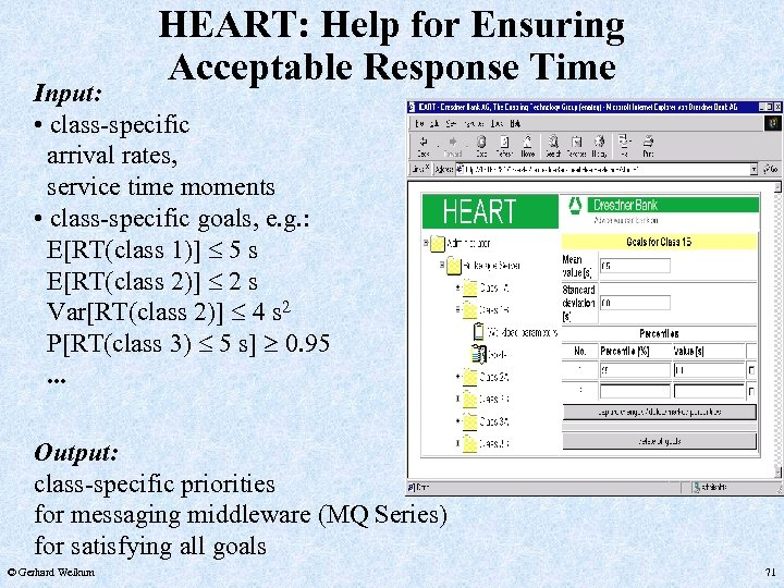 HEART: Help for Ensuring Acceptable Response Time Input: • class-specific arrival rates, service time
