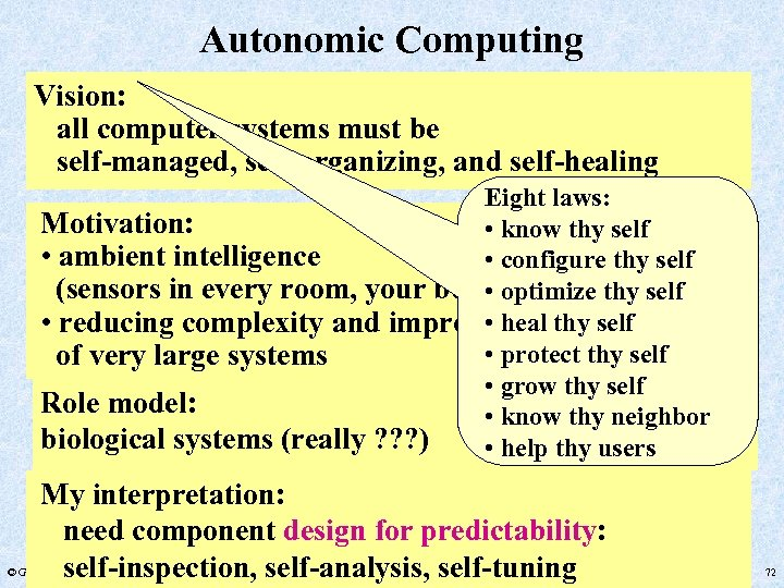 Autonomic Computing Vision: all computer systems must be self-managed, self-organizing, and self-healing Eight laws: