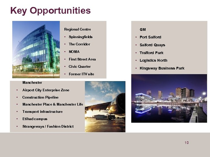 Key Opportunities Regional Centre GM • Spinningfields • Port Salford • The Corridor •