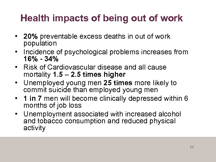 Health impacts of being out of work • 20% preventable excess deaths in out