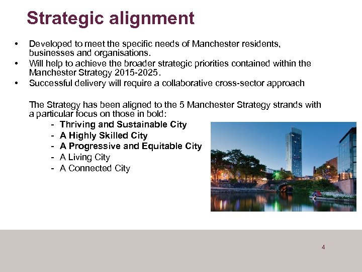 Strategic alignment • • • Developed to meet the specific needs of Manchester residents,