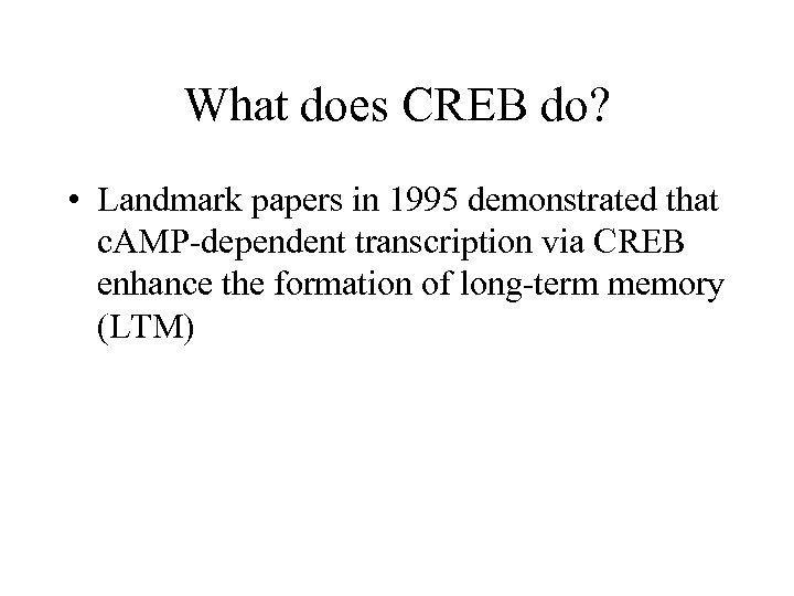 What does CREB do? • Landmark papers in 1995 demonstrated that c. AMP-dependent transcription