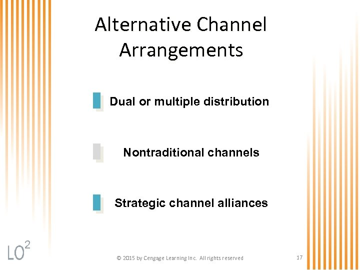 Alternative Channel Arrangements Dual or multiple distribution Nontraditional channels Strategic channel alliances 2 ©