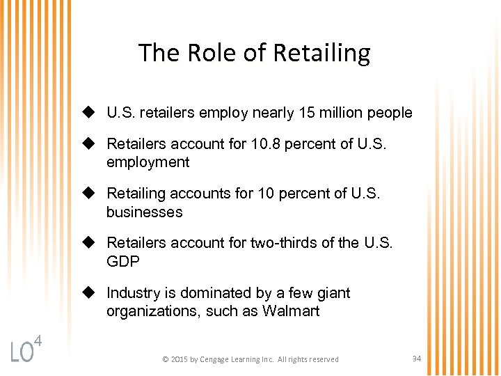 The Role of Retailing u U. S. retailers employ nearly 15 million people u