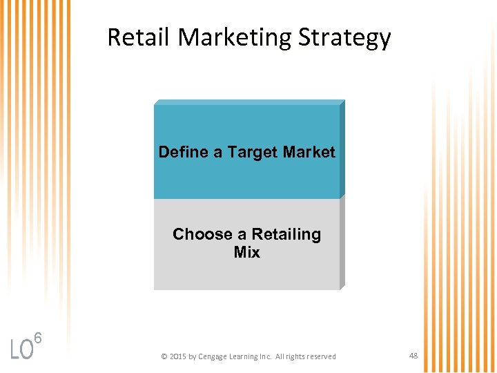 Retail Marketing Strategy Define a Target Market Choose a Retailing Mix 6 © 2015