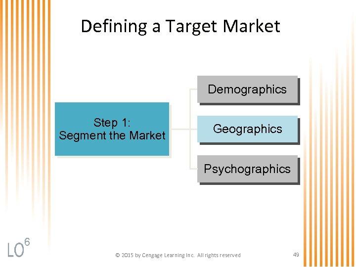 Defining a Target Market Demographics Step 1: Segment the Market Geographics Psychographics 6 ©