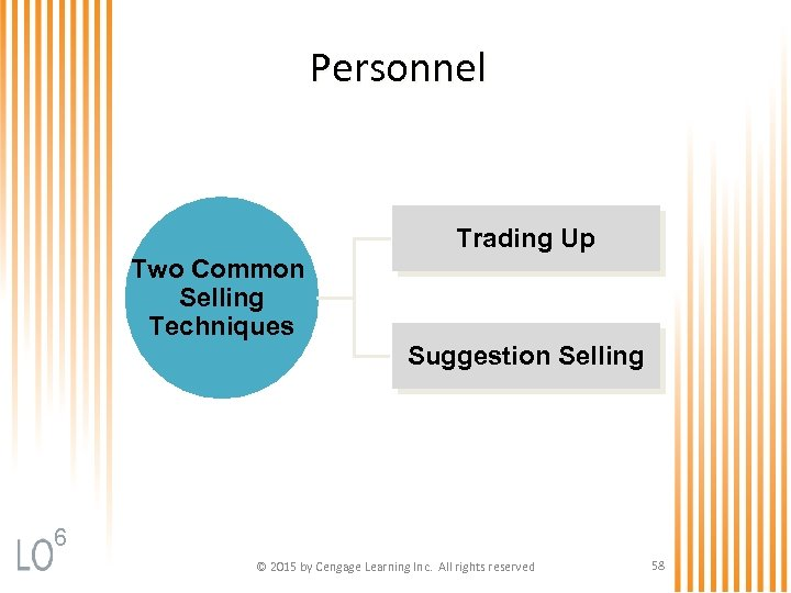 Personnel Trading Up Two Common Selling Techniques Suggestion Selling 6 © 2015 by Cengage