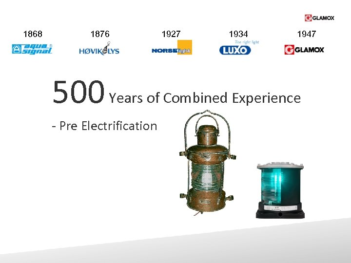 1868 1876 1927 1934 1947 500 Years of Combined Experience - Pre Electrification