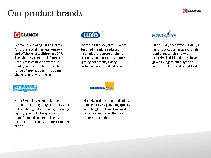 Our product brands Glamox is a leading lighting brand for professional markets, onshore and