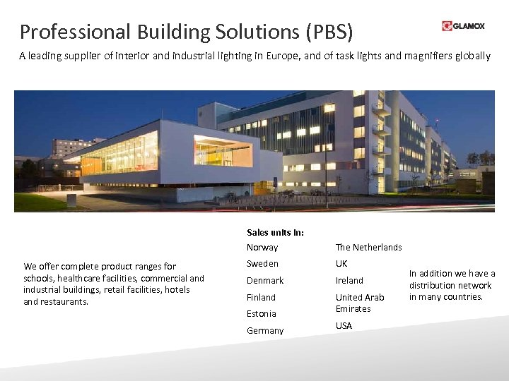 Professional Building Solutions (PBS) A leading supplier of interior and industrial lighting in Europe,