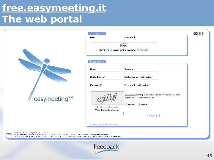 free. easymeeting. it The web portal 15