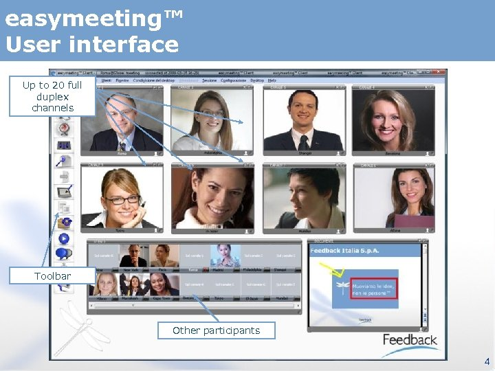 easymeeting™ User interface Up to 20 full duplex channels Toolbar Other participants 4