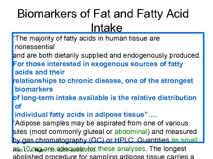 "Biomarkers of Fat and Fatty Acid Intake ""The majority of fatty acids in human"