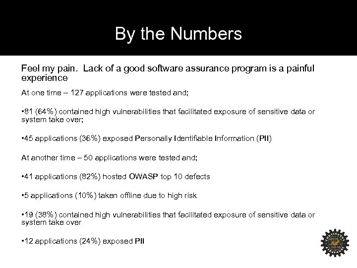 By the Numbers Feel my pain. Lack of a good software assurance program is
