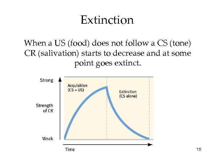 Extinction When a US (food) does not follow a CS (tone) CR (salivation) starts