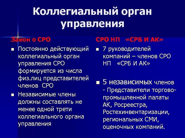 Коллегиальный орган управления Закон о СРО n Постоянно действующий коллегиальный орган управления СРО формируется