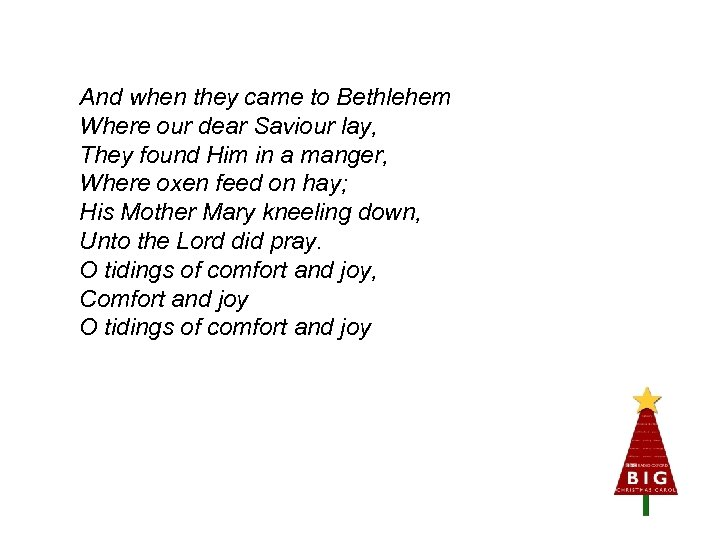 And when they came to Bethlehem Where our dear Saviour lay, They found Him