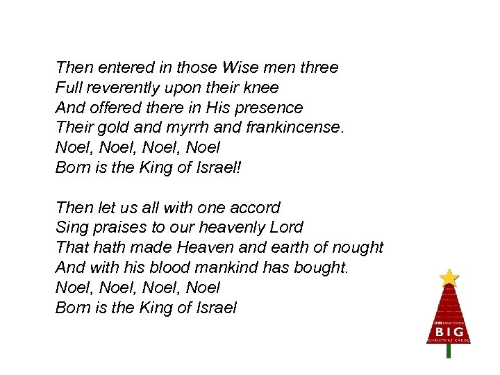 Then entered in those Wise men three Full reverently upon their knee And offered