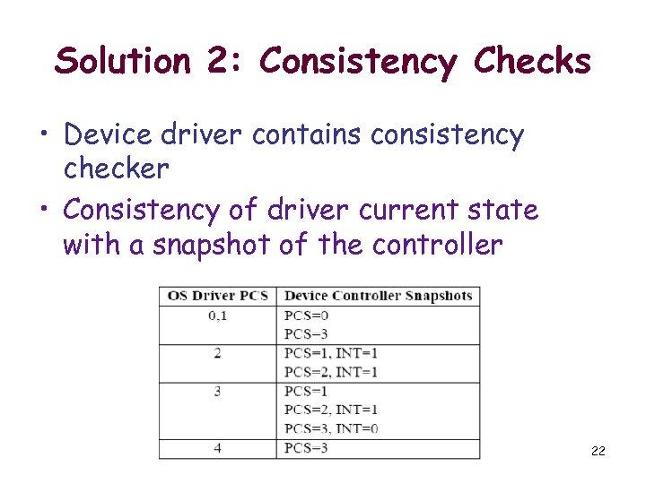 Solution 2: Consistency Checks • Device driver contains consistency checker • Consistency of driver