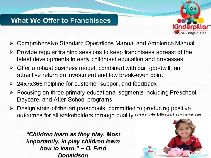What We Offer to Franchisees Ø Comprehensive Standard Operations Manual and Ambience Manual Ø