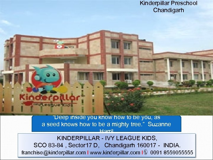 "Kinderpillar Preschool Chandigarh ""Deep inside you know how to be you, as a seed"