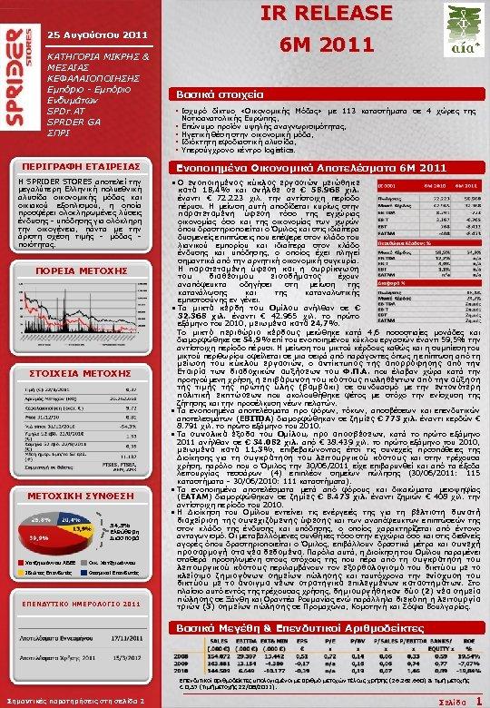 IR RELEASE 25 Αυγούστου 2011 ΚΑΤΗΓΟΡΙΑ ΜΙΚΡΗΣ & ΜΕΣΑΙΑΣ ΚΕΦΑΛΑΙΟΠΟΙΗΣΗΣ Εμπόριο - Εμπόριο Ενδυμάτων