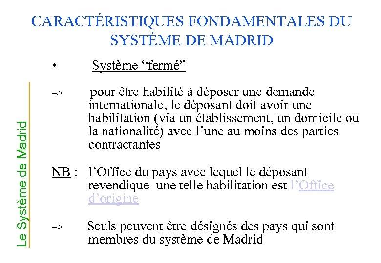 """CARACTÉRISTIQUES FONDAMENTALES DU SYSTÈME DE MADRID • Le Système de Madrid => Système """"fermé"""""""