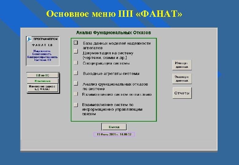 Основное меню ПП «ФАНАТ»