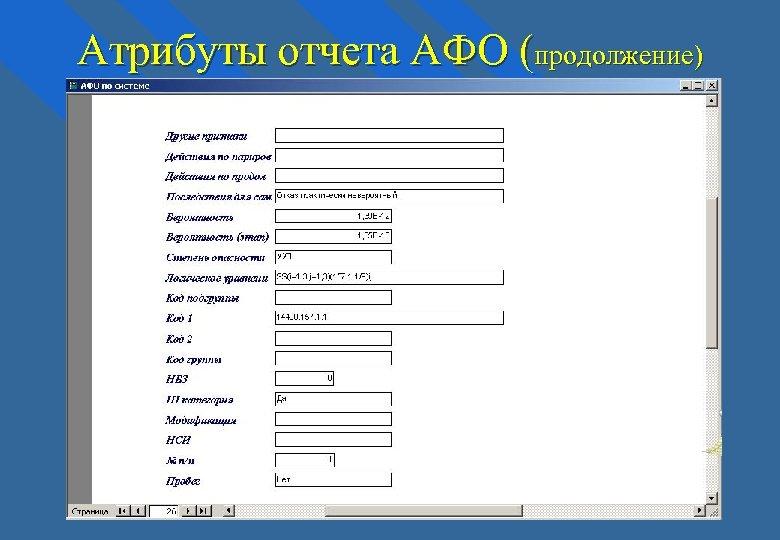 Атрибуты отчета АФО (продолжение)