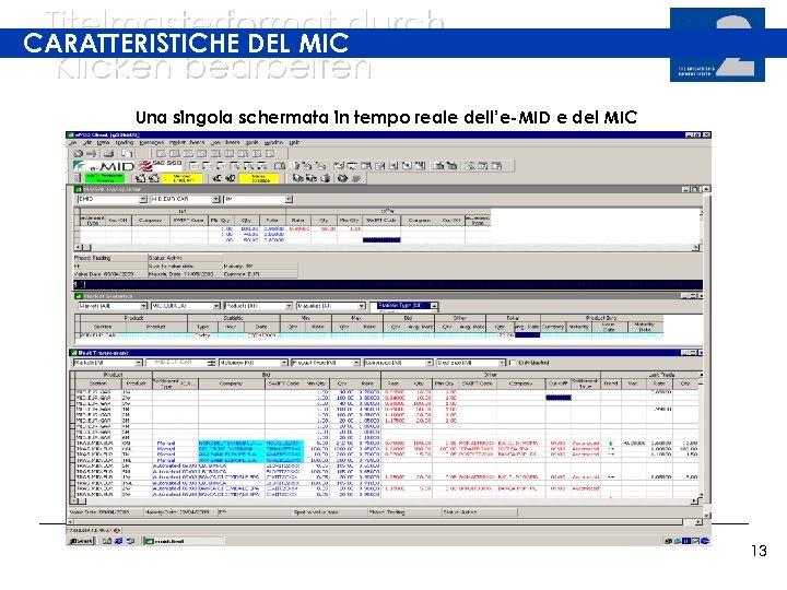Titelmasterformat durch CARATTERISTICHE DEL MIC Klicken bearbeiten Una singola schermata in tempo reale dell'e-MID