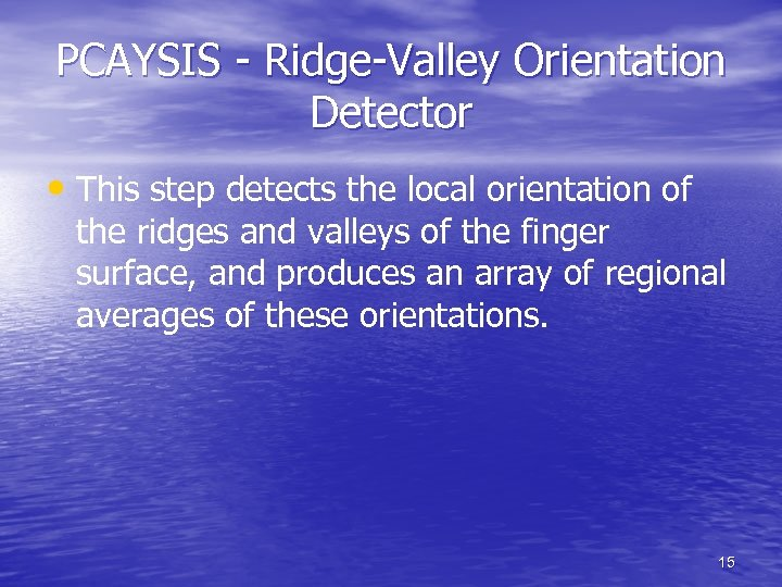 PCAYSIS - Ridge-Valley Orientation Detector • This step detects the local orientation of the