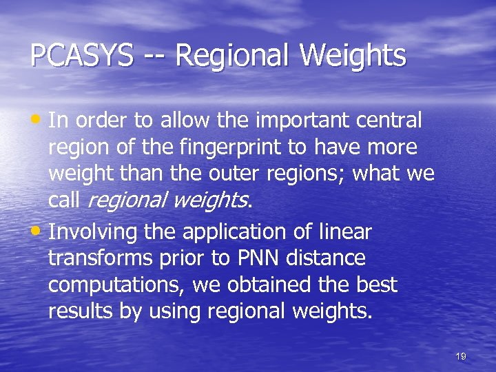 PCASYS -- Regional Weights • In order to allow the important central region of