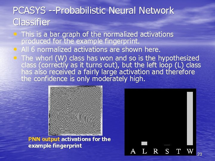PCASYS --Probabilistic Neural Network Classifier • This is a bar graph of the normalized