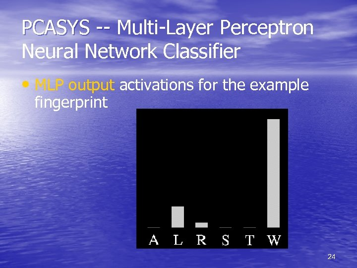 PCASYS -- Multi-Layer Perceptron Neural Network Classifier • MLP output activations for the example