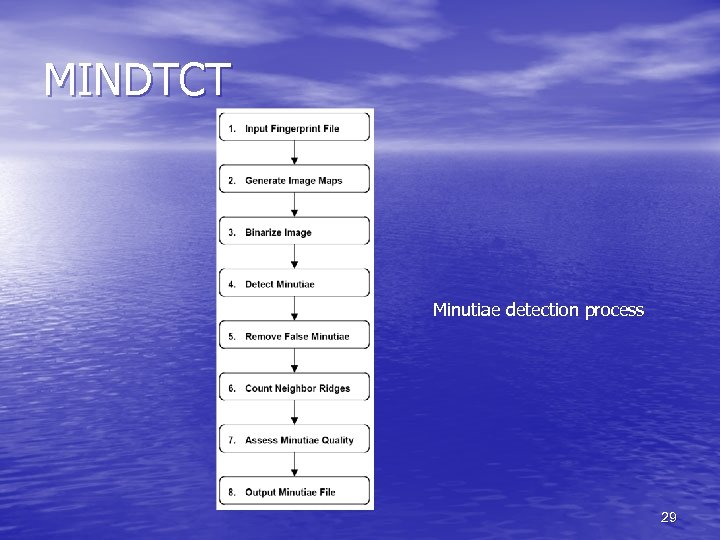 MINDTCT Minutiae detection process 29