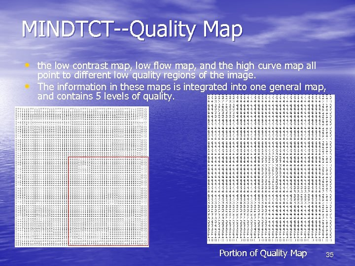 MINDTCT--Quality Map • the low contrast map, low flow map, and the high curve