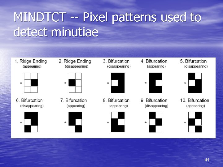 MINDTCT -- Pixel patterns used to detect minutiae 41