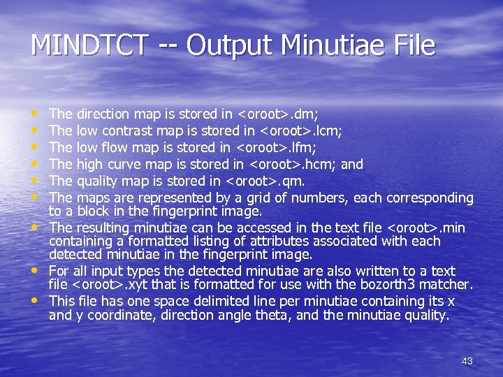 MINDTCT -- Output Minutiae File • • • The direction map is stored in