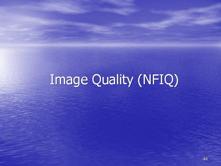 Image Quality (NFIQ) 44