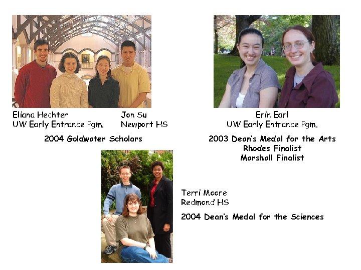 Eliana Hechter UW Early Entrance Pgm. Jon Su Newport HS 2004 Goldwater Scholars Erin